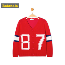 balabala Autumn/spring Baby boys Sweater Casual kids Cotton Cardigan Long Sleeve O-neck Solid number Pattern Children clothes(China)