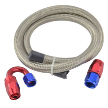 evil energy- AN8 Oil Fuel Hose 1M Stainless Steel Braided Hose Line+AN8 Straight Fitting 180 Degree Swivel Fitting Hose End Kits