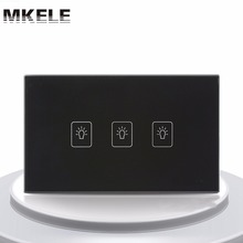 Touch Switch US Standard 3 Gang 2 Way Light Switch Touch Screen wall switch wall socket for lamp(China)