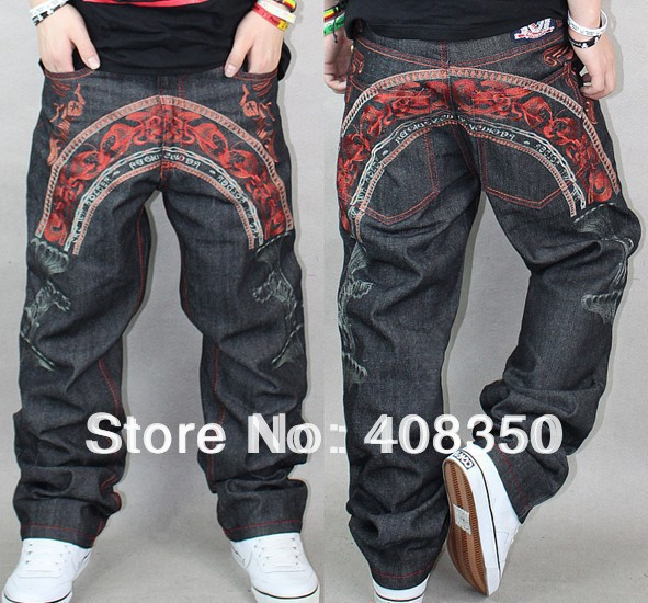 Plus Size Mens Fashion Red Exquisite Embroidery Jean Pant, Hip Hop Casual Long Skateboard Pant Big Size 30-42Одежда и ак�е��уары<br><br><br>Aliexpress