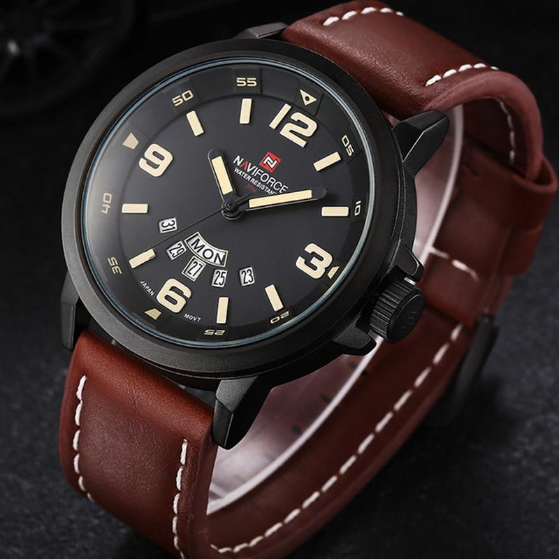 5d8a4fdae99 NAVIFORCE mens watches top brand luxury Sport Waterproof Quartz-Watch  Leather Strap Clock men wristwatch