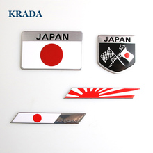KRADA Japanese Flag Emblem Badge 3D Car Sticker Decals Car-styling for Toyoto Honda Nissan Mazda Lexus Mitsubishi Suzuki Subaru