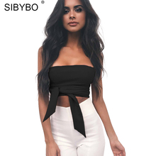 Sibybo Bow Shirt Camisole women Top 2017 Sexy Off Shoulder New fashion Party Slim Backless Women Crop Tops Blusa(China)