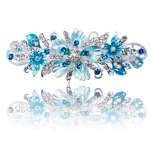 Haimeikang Crystal Hairpins Hair Clip for Women Girls Rhinestone Peach Flower Drop Oil Barrettes Hairgrow Hair Accessories