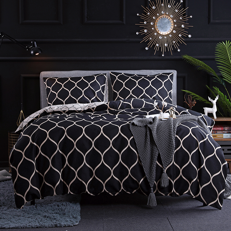 Geometric Printed Duvet Quilt Cover Bedding Set with Pillow Case Twin Queen King