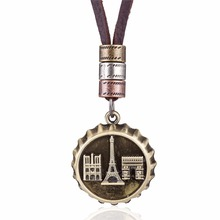 Chokers Women Men Jewelry Metal Eiffel Tower Bottle Cap Pandant necklaces genuine leather long necklace for women Dropshipping(China)