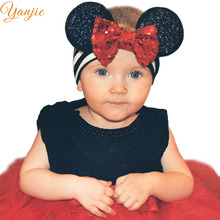 Infantile Girls Minnie Ears Headband 2018 Mini Sequin Messy Bow Hair Band For Kids Winter Metallic Headband Hair Accessories(China)