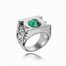 Wholesale Fashion Jewelry Silver Charm Green Lantern Ring For Men And Women,original factory supply(China)