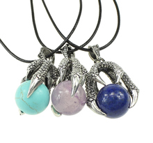 YYW Punk Silver-color Dragon Claw Natural Real Rose Stone Sea Opal Purple Quartz Stone Leather Cord Choker Pendent Necklaces(China)