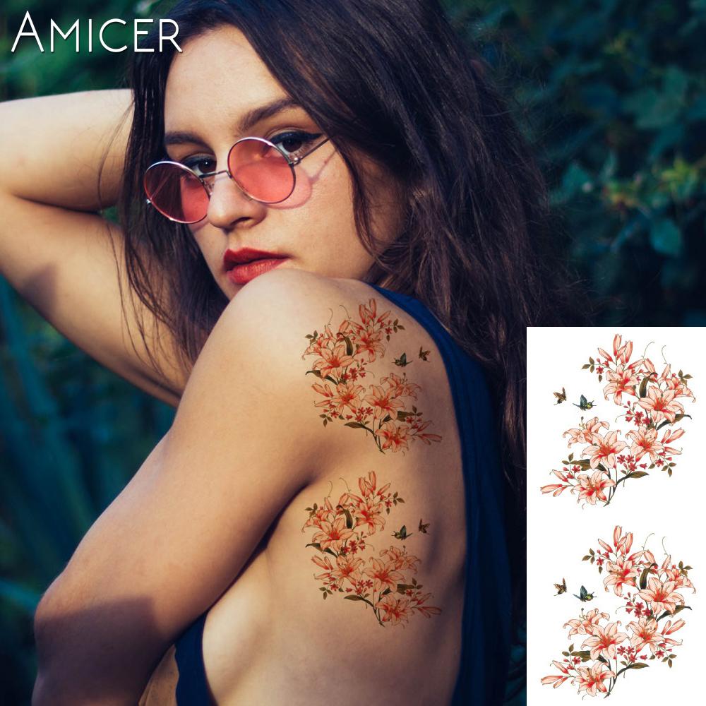 3D lifelike Cherry blossoms rose big flowers Waterproof Temporary tattoos women flash tattoo arm shoulder tattoo stickers 17