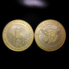5pcs/lot USA Hunger Games challenge round  clad gold America coin If we burn you burn with us