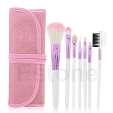 Clearance Sale 7Pcs Natural Makeup Brush Cosmetic Brushes Set Kit Tool Rolling Up Case Pink