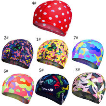 Colorful Printed Swimming Caps Free Size Waterproof Flower Bathing Cap Protect Ears Hair Men Women Adults Swim Pool Cap(China)