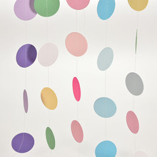 DIY Hot Sale Colorful Hanging Paper Garlands String Chain Wedding Party Home Birthday Kids Decoration Round Shape 2M(China)