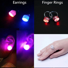 New Fashion LED Light Glow Earrings Flashing Finger Rings Kids Girls Toys Accessories Party Supplies Christmas New Year(China)
