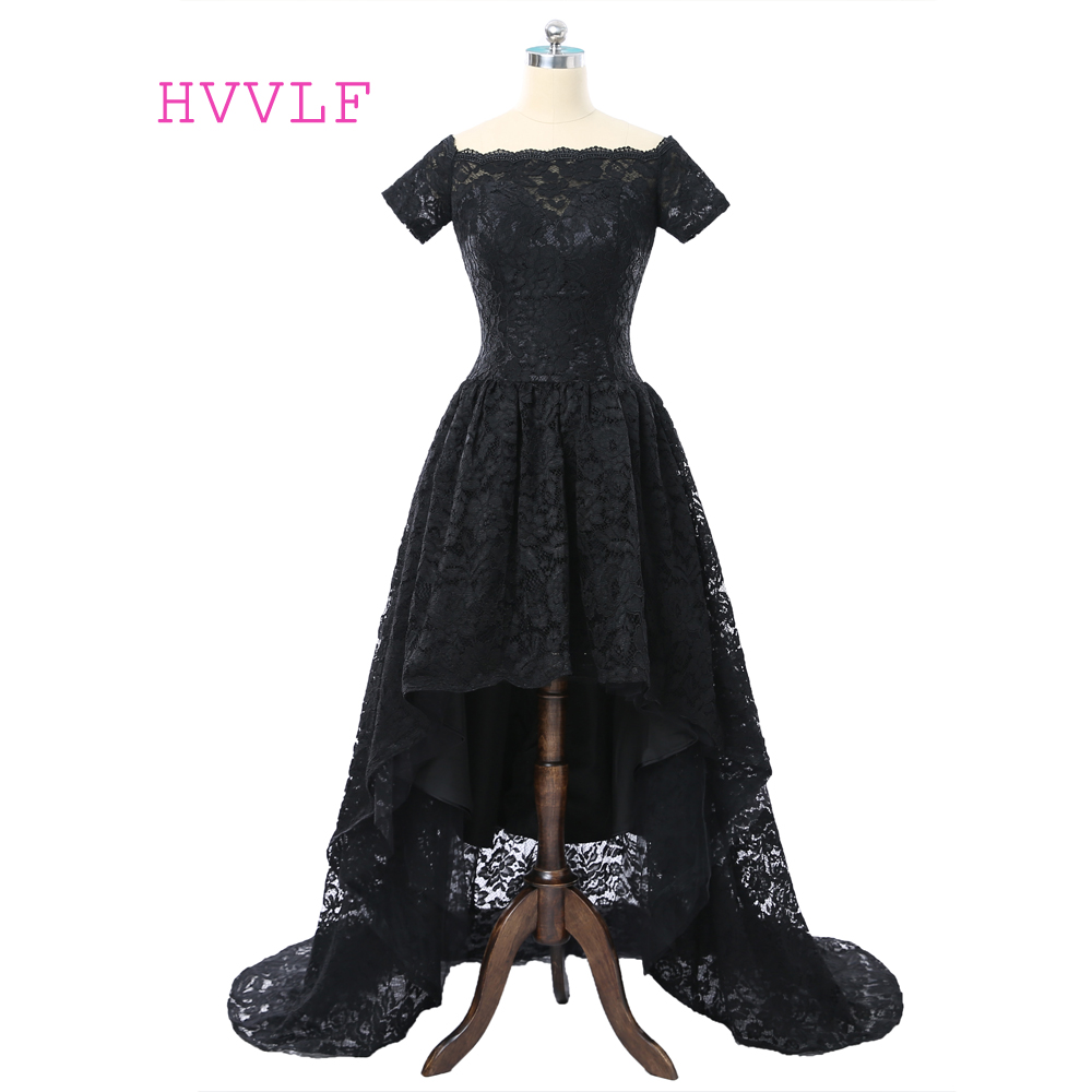 Black Prom Dresses 2019 A-line Cap Sleeves Lace Short Front Long Back Women Long Prom Gown Evening Dress Robe De Soiree