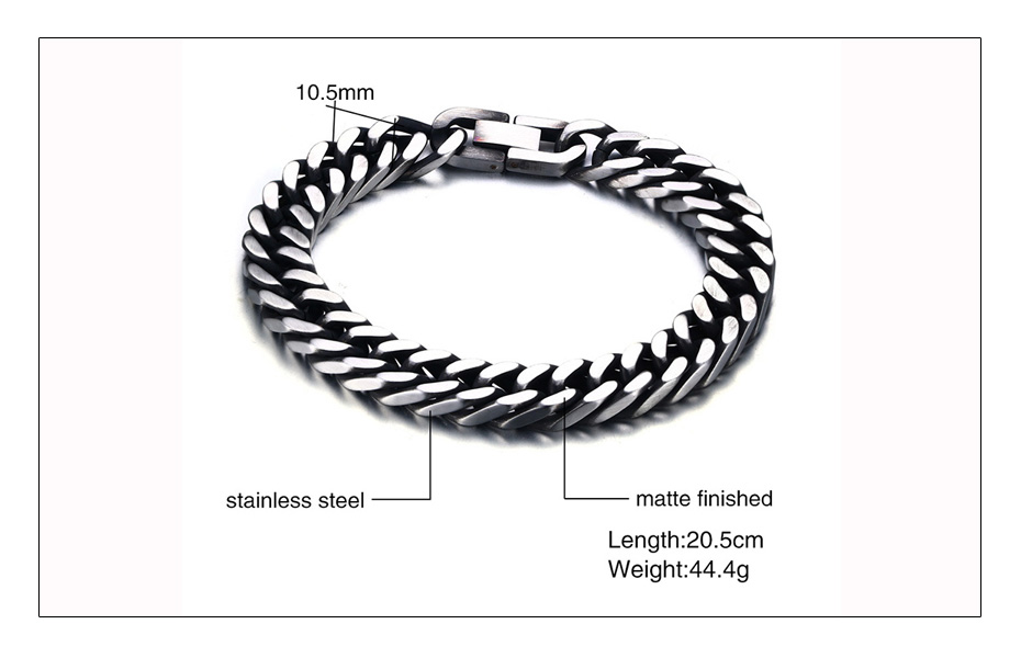 Meaeguet 8mm Wide Vintage Stainless Steel Chain Link Bracelet Men Jewelry Matte Finished Hand Chain Bracelet & Bangle (7)