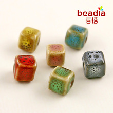 New Arrival 10pcs New Stock 8*8mm, Square Porcelain Handcraft Fancy Glaze Cube Beads for DIY Accessory fashion charms bracelet