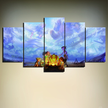 Unframed 5 Panels World of WarCraft Game Post Canvas Print Home Decoration For Living Room Hero Wall Pictures Art Painting