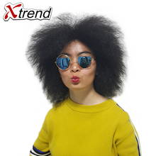 Xtrend 6inch Short Synthetic Wig Kinky Curly Hairstyle None Lace Wigs For African Black Women Adjustable High Temperature Fiber