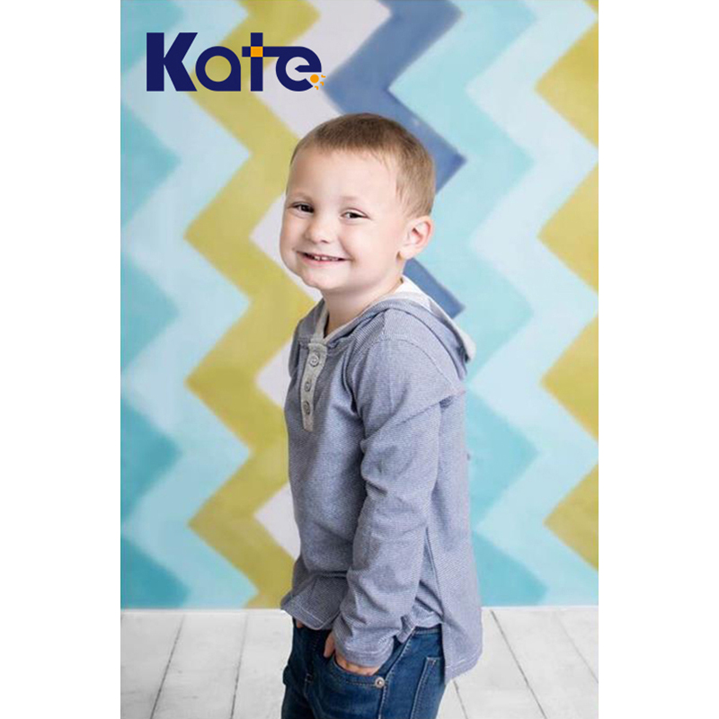 Kate Blue Photography Chevron Backdrop Children Photography Backdrops Wavy Stripes Green Blue Gray Background Photo Studio<br>