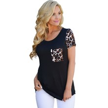 S-XXL Leopard print short sleeve top tees plus size t shirt women 2017 summer fashion sexy casual tops female clothing H250043