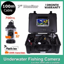 "100M underwater Fish Finder 7""inch Digital Monitor With DVR 700TVL 8 LED Lights Rotate 360 Degree Video Camera(China)"