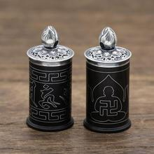 Handmade 999 silver gau box pendant vintage Pure silver Black-sandalwood Buddhist prayer box pendant tibetan gau pendant(China)