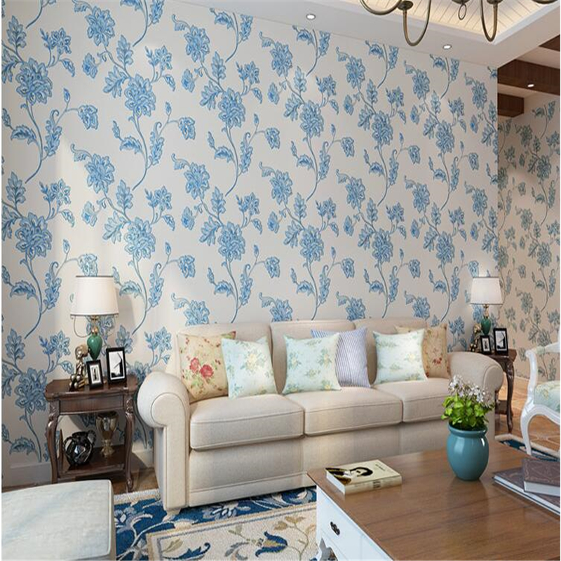 beibehang Pastoral style three-dimensional relief flower thickening nonwoven wallpaper bedroom living room background wall paper<br>