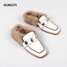 2018 KUNCITI Women Shoes Fur Shoes Slippers Square Toe Studded Mules Shoes  Genuine Leather Female Warm Slides Black Beige S333 1df82bc5e69b