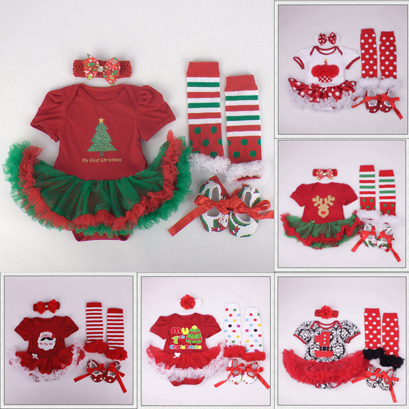 Toddler Baby Girls Christmas Tree Print Rompers Tutu Leggings Shoes with Flower Headbands 4pcs Outfits Sets Infant Clothes Set<br><br>Aliexpress