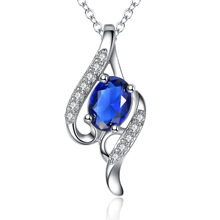 Buy Silver Plated Link Chain Big Blue Rhinestone Full Clear Crystal Tear Drop Shape Pendant Necklace Jewelry Women Gift for $5.26 in AliExpress store