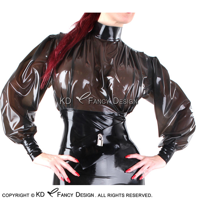 Transparent Black With Black Trims Sexy Short Latex Blouse With Back Zip Rubber Shirt Top Clothes YF-0142