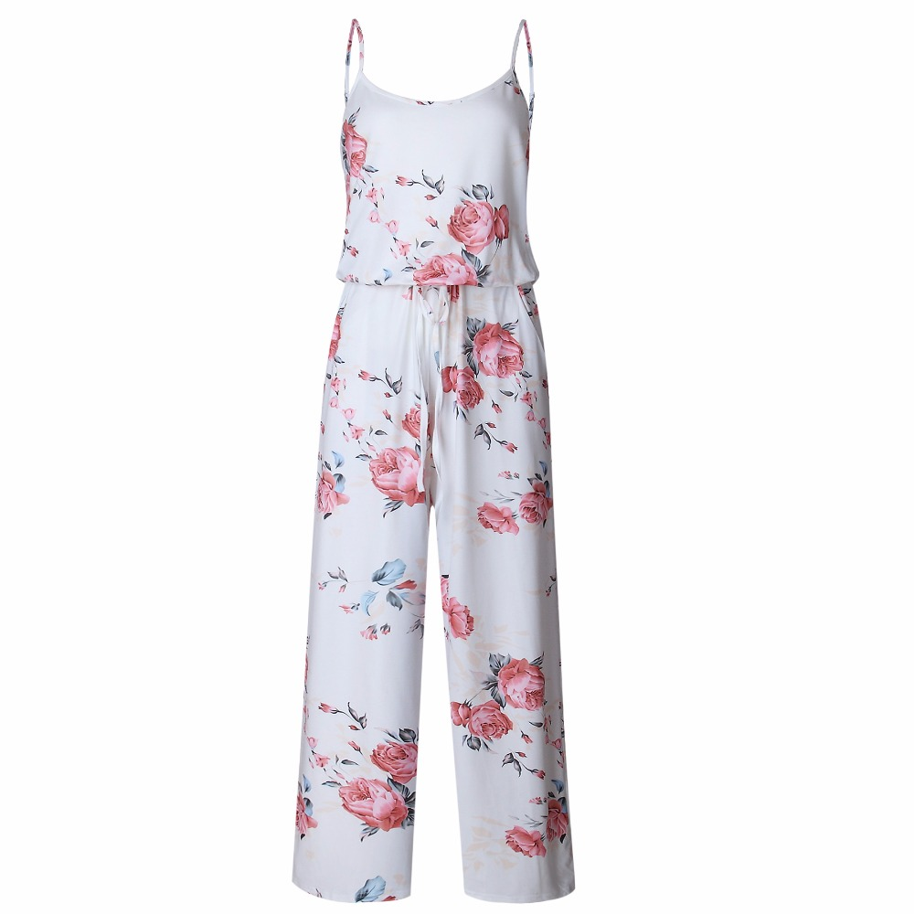 Spaghetti Strap Jumpsuit Women 2018 Summer Long Pants Floral Print Rompers Beach Casual Jumpsuits Sleeveless Sashes Playsuits 17
