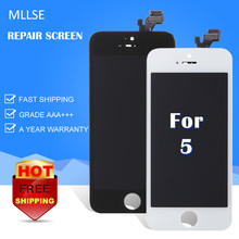 20/PC MLLSE For iPhone 5 LCD Touch Screen Digitizer Assembly Replace Frame 100% Tested Best Quality Smart Phone Display With DHL(China)