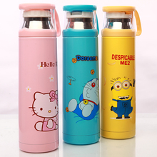 Kawaii Kitty/Doraemon/Minions Stainless Steel insulated Thermos Bottle 500ml Coffee mug sports Thermal vaccum water bottle Gift(China)