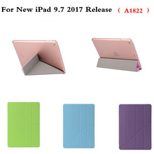 Case for iPad 9.7 inch 2017 Release A1822 PU Leather+Ultra Slim Light Weight PC Back Cover Auto Wake/Sleep Folding Stand Case