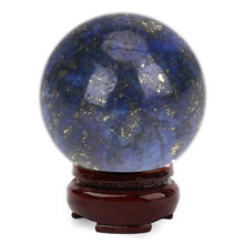20mm Natural Lapis Lazuli Crystal Ball Healing Sphere with Stand DIY Decor Good Luck Home Ornaments Decorative Gift(China)