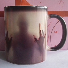The Walking Dead Mugs Color Change Ceramic Coffee Mug and Cup Fashion Gift Heat Reveal Magic Zombie Mugs for Friend(China)