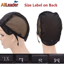 Popular Glueless Full Lace Wig Cap 5 Pcs Lot Black Color Wig Net Cap Weaving Caps XL/L/M/S Wig Caps For Making Wigs Adjustable(China)