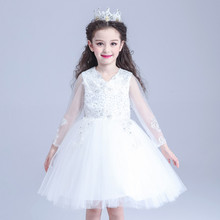 Design Eleghant Formal Party Girl Dresses Long Sleeve White Princess Flower Girl Vestidos Kids Clothes 2017 AKF164032 Latest