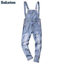 173a4de4b7f Sokotoo Men s ankle length light blue denim crop bib overalls Casual big  pocket slim suspenders jumpsuits Jeans