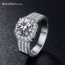 ANFASNI Fashion Jewelry Queen Rings Silver/ Rose Golden Color Micro Pave Clear AAA Cubic Zircon Classic Ring For Women CRI0015