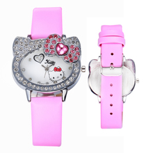 2017 Brand Pink Cartoon Hello Kitty Watch Women Leather Children Girls Dress Quartz WristWatch Kids Hellokitty Watches