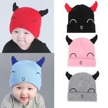 Baby Hat Boys Girls Kids baby Winter Hats Newborn Cap Hot Super Soft Horn Hat Cute Smiley Face Crochet Knit Costume lowest price(China)