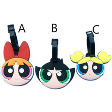 Fashion Cute The Powerpuff Girls Travel Accessories Luggage Tag New Cartoon Silica Gel Suitcase Baggage Tags Portable Label 10cm