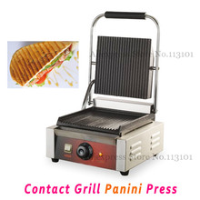 Commercial Panini Grill Sandwich Maker Contact Grill Electric Griddle with Single Head Groove Plates