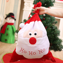 1*Christmas Large Gift Bag XMAS Gift Bag Decor Backpack Santa Claus Gold Velvet Embroidery Sack(China)