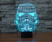 Creative 3D LED 7 color Star Wars Stormtrooper changing visual illusion light bedroom light action figures PMMA table lamp 342