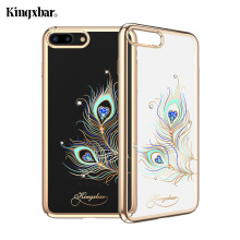 KINGXBAR for iPhone 7 Plus 8 Plus Case Swarovski Element Crystal Plating PC Hard Diamond Rhinestone Case for iPhone 8 Plus Cover(China)